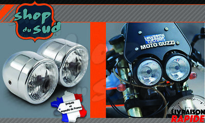 Headlight Assemblies Parts & Accessories Optique rond universel moto 180 mm chromé retro custom cafe racer Harley NEUF