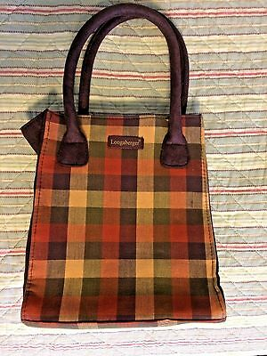 Longaberger Plaid and Suede Purse Small Tote Purple Tan Green Orange H051