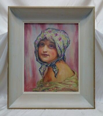 Signed Vintage Beautiful Woman Portrait Oil Painting on Canvas Panel (Framed)