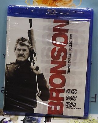 New Bronson Death Wish 2-3-4 On Blu-Ray! 3 Disc Triple Threat Collection Sealed