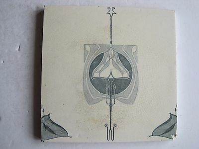Antique Victorian Mintons Art Nouveau Transfer Print Tile