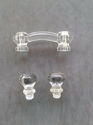 Vintage Glass Pulls Lot Of 3 Great Condition