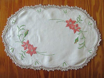 Vintage 'Coral Coloured Floral' Hand Embroidered Doily - 44cm x 29cm