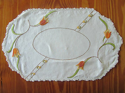 Vintage 'Autumn Tones' Hand Embroidered Doily - 43cm x 26cm