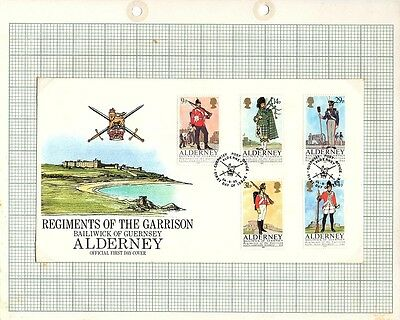 1985 Alderney Stamps - FDC & Mint set of 5 , Regiments of the Garrison  SGA23-27