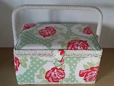 BNWT-Vintage Rose and Polka Dot Design Medium Size Sewing Box by Hobby Gift