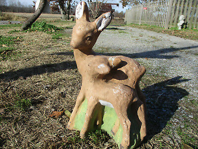 "Very Unique Mama Doe & Fawn Vintage Cement/concrete Garden Statue 15 1/2"" Tall"