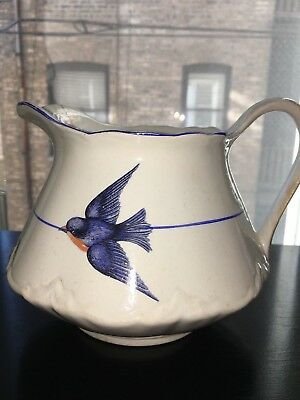 Antique C.C. Thompson Pottery Co. BLUEBIRD Design Wide & Squat Pitcher-1870-1889