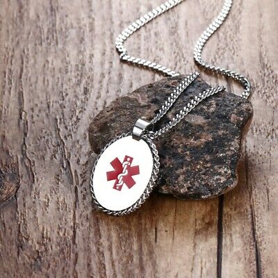 Men Women SOS Medical Alert ID Tag Necklace Stainless Steel Pendant Personalized
