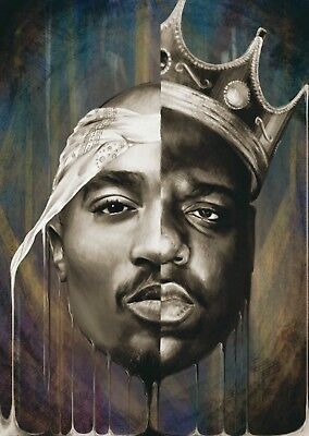 Biggie Smalls BIG 2Pac Tupac Collage Large Poster Wall Art Print - A0 A1 A2 A3