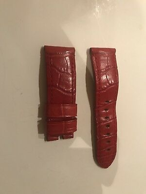 Panerai Red Colour Leather Strap Hardly Used Size 24 mm - No Reserve