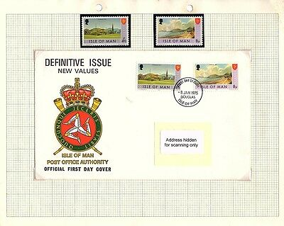 Isle of Man Stamps - FDC & Mint set of 2 1975 Definitive Issue SG20 & 26