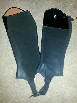 New leather half chaps gaiters large brogini with crystal B pantant tops black
