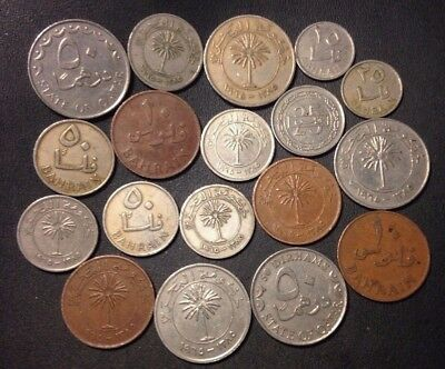 Old Gulf States Coin Lot -  Kuwait/Bahrain/Qatar - 18 Excellent Coins - Lot #N23