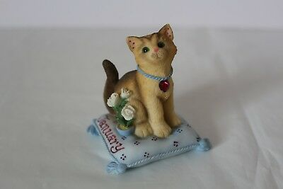 Enesco Calico Kittens January Garnet Birthstone 2000 Priscilla Hillman Cat Kitty