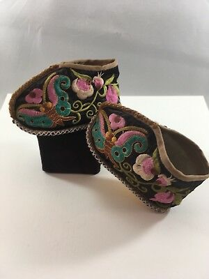 Chinese Asian Embroidered Silk Child's Ceremonial-Festival Booties-Shoes