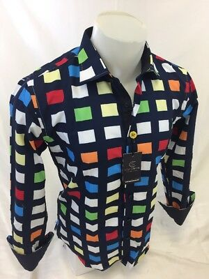 Mens SUSLO COUTURE Designer Shirt Woven SLIM FIT MULTI COLOR GEOMETRIC 91046 NWT