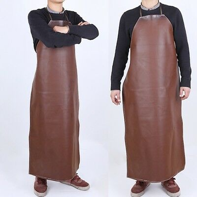 Waterproof oil-resistant Leather Waiter Chef Kitchen Cooking Overalls Apron New
