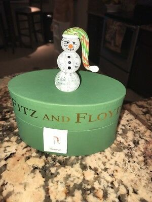 Fitz And Floyd Glass Menagerie Snowman  With Box  43/236