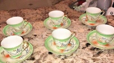 Vtg Victoria China Hand Painted Dragon Ware Tea Cups And Saucer Moriage set of 4