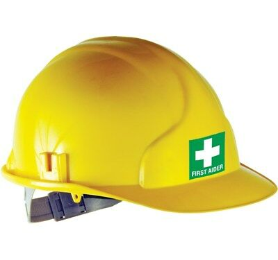 FIRST AIDER STICKER - SUITABLE FOR HELMETS AND HARD HATS - 5cms x 5cms