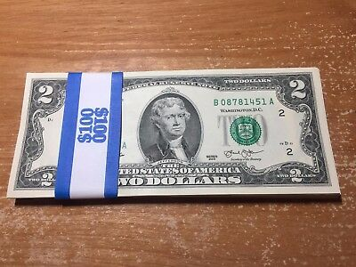 Lot of 50 Mint, Uncirculated Two Dollar Bill, Crisp $2 Note from BEP Pack
