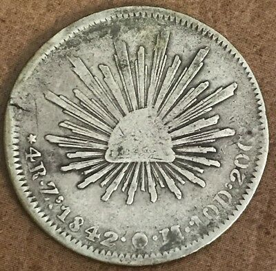 1842 Zs OM 4 Four Reales Silver Coin K43