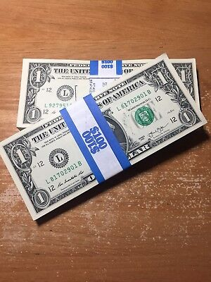 2013 Sequential Collectible Pack of 100 New Uncirculated $ 1 One Dollar Bills.