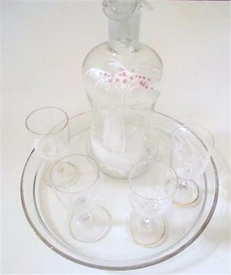 Antique Early Mary Gregory Art Glass Decanter Four Glasses and Tray