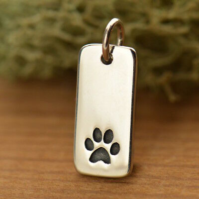 925 Sterling Silver Dog Cat Paw Tag Vertical Charm Animal Lover Vet Necklace 772