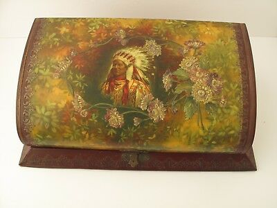 Antique Victorian Celluloid Dresser Set In Original Box Indian Cover The Best