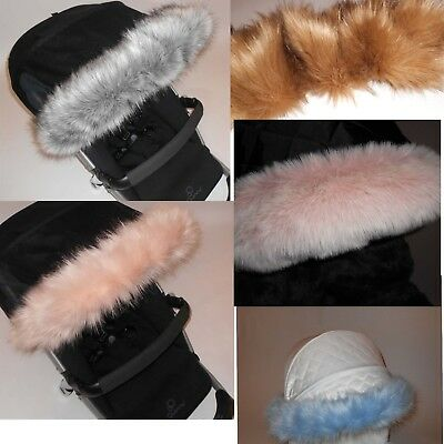 Pushchair Pram hood fur trim Oyster 2 / My Babiie / Cossatto / universal fit
