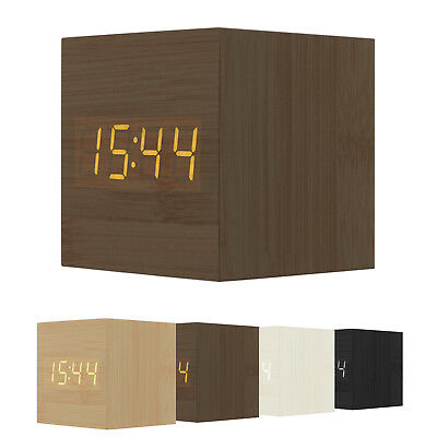 Orologio Sveglia Digitale Legno Display Led Temperatura Allarme Cubo Quadrata