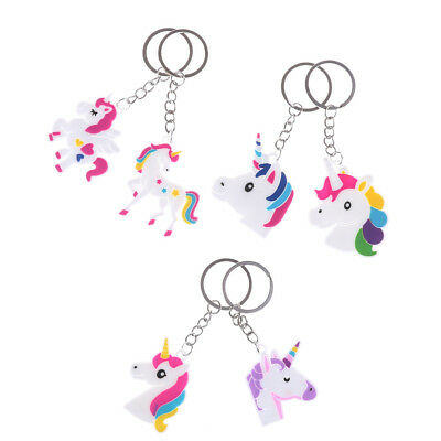 2x Different Lovely Unicorn Keychain Christmas Men Women Gift Key holder Ring GT