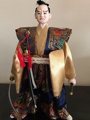 "12"" Japanese Porcelain Samurai Doll with Sword without Armor on Wooden Base"