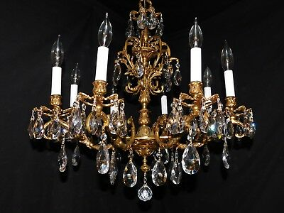 Antique pure golden brass crystal chandelier 8 lights quality  crystals