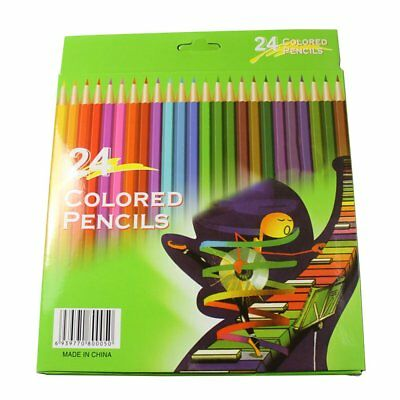24Pcs Colorful Wooden Colored Pencil School Students Office Stationery