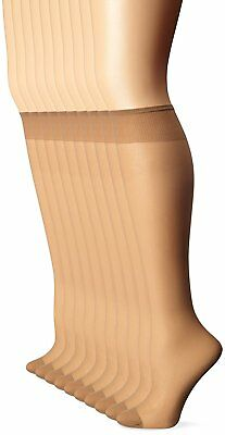 Leggs Womens 10 Pair Everyday Reinforced Toe Knee Highs, Nude, One Size