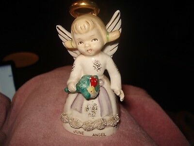 VTG Napco June Angel of the Month with flowers boquet