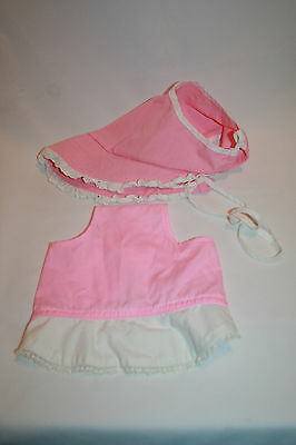 2 Vintage Girls Hat Childs Bonnet Pink Lace Edging Fabric
