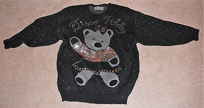 Disco Bear Sweater, 80s vintage, made by HONEY, one size. Sequined bear.