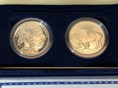 2001 American Buffalo Proof and Unc Silver Dollar Commemorative $1 US Mint Coins