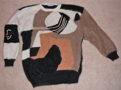 Ted Lapidus of Paris vintage sweater, made in France, angora with gold accents