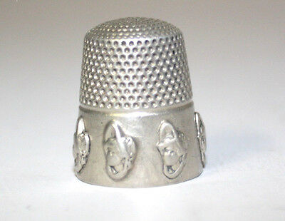 """Rare Antique 1901 Dolly Varden Sterling Silver Thimble from Stern Bros.& Co. """"9"""""""