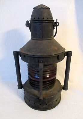 """Antique Copper 2 handle/bar Ships Lantern with red glass  lens  19"""" high"""
