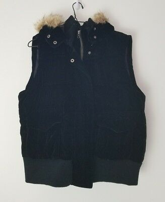 OLD NAVY Quilted Black Velvet Fur-Trim Hooded Vest, Warmth & Style! Size XL, EUC