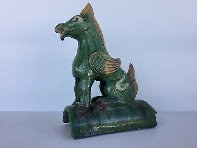 Antique Chinese Roof Tile Heavenly Horse Winged Figure Glazed Pottery Stoneware