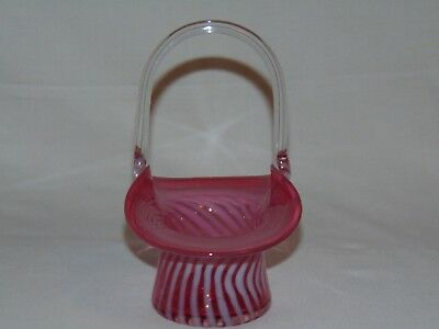 Vintage Antique Victorian Cranberry Opalescent Glass Top Hat Candy Bowl Basket