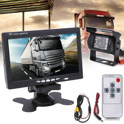"7"" inch TFT Reversing Monitor +Rear View Backup Camera Kit For Truck Trailer Bus"