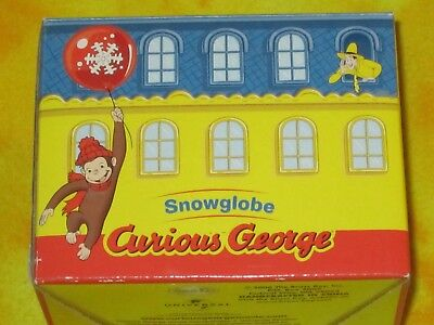 "Curious George Toy Snowglobe Box Brass Key Snowman Winter scene HTF 3"" Tall LOOK"